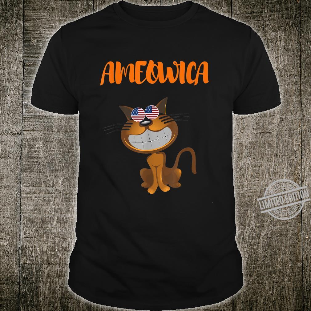 AMEOWICA Patriotic USA Cat American Flag glasses Shirt