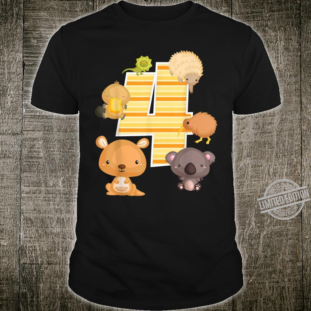 Australia Animals 4th Birthday Kangaroo Koala Platypus Shirt