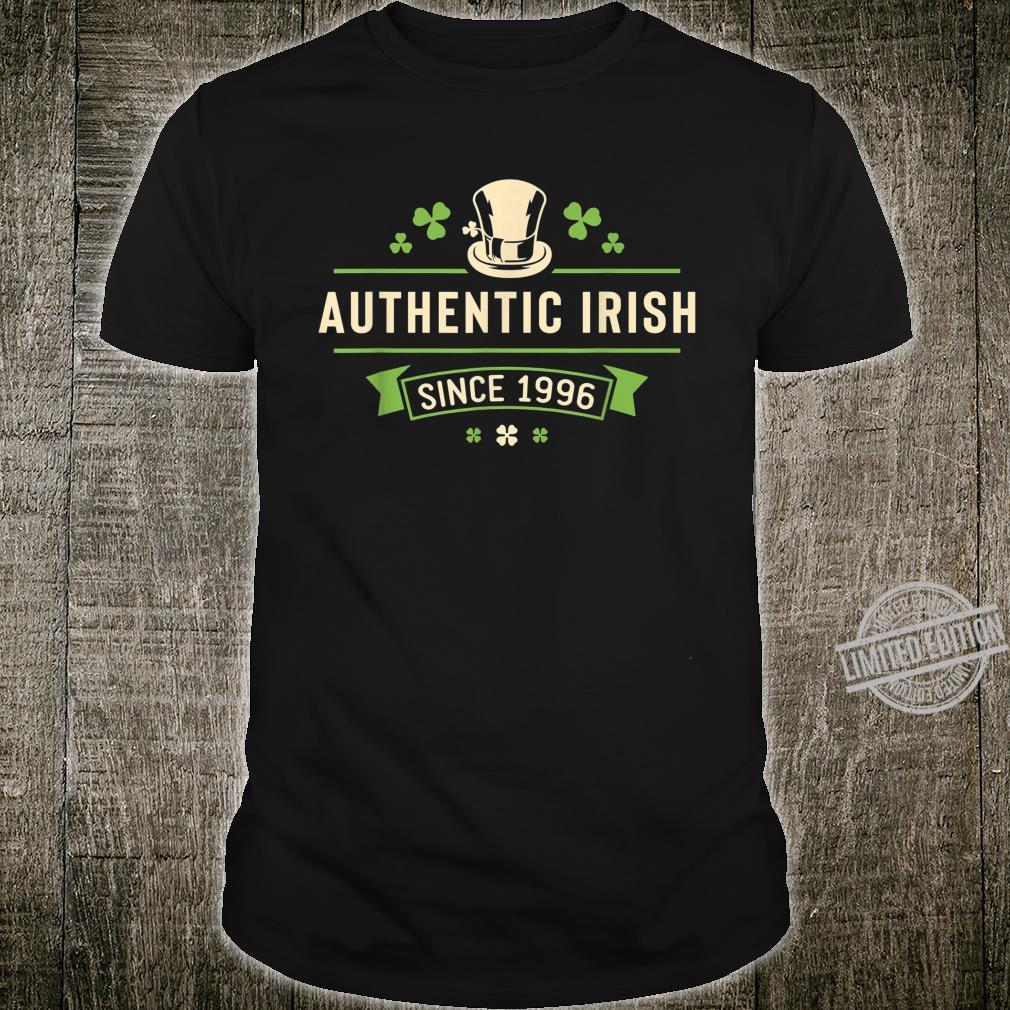 Authentic Irish Since 1996 St Patricks Day Birthday Shirt