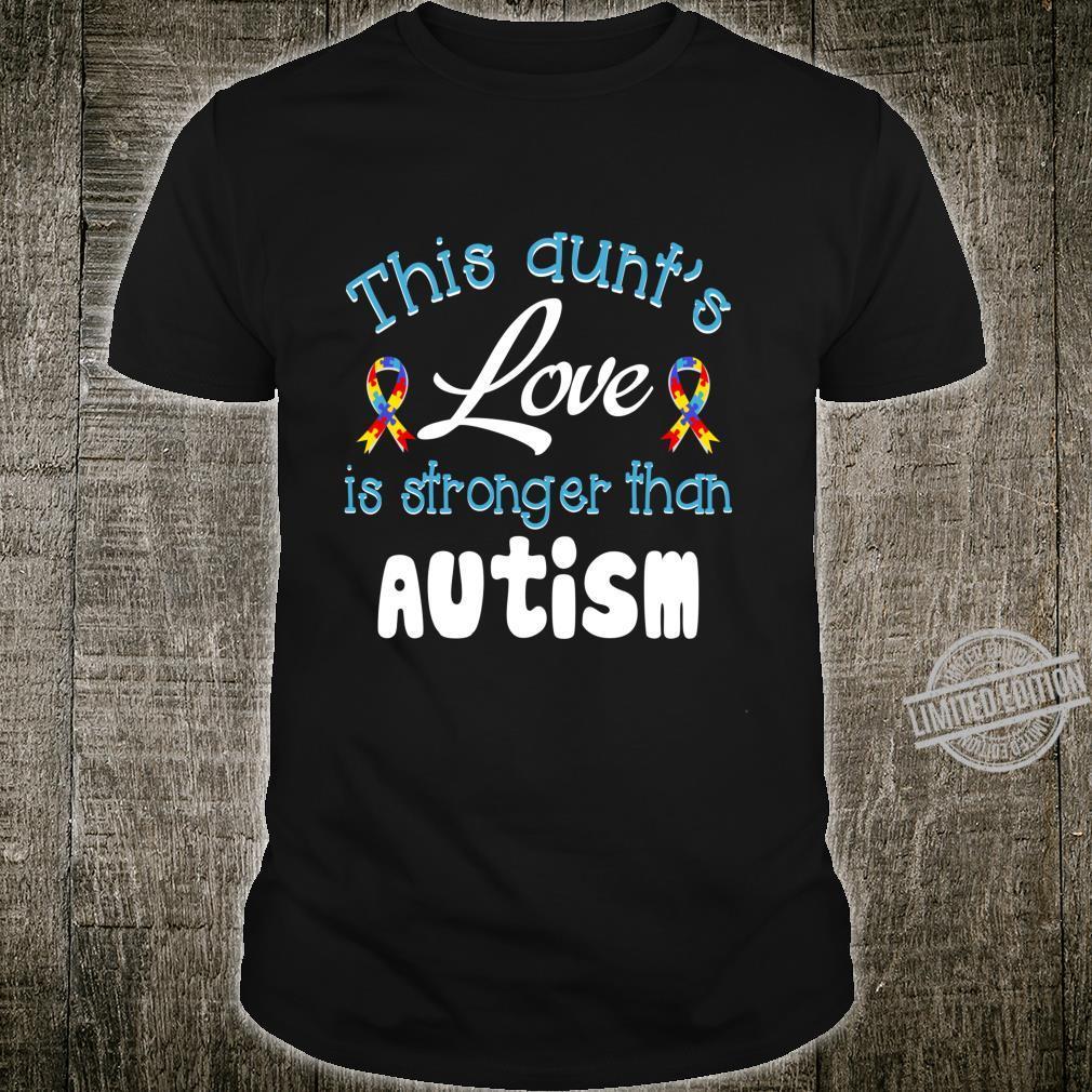 Autism Aunt Love Cute Autism Awareness Month Puzzle Ribbon Shirt