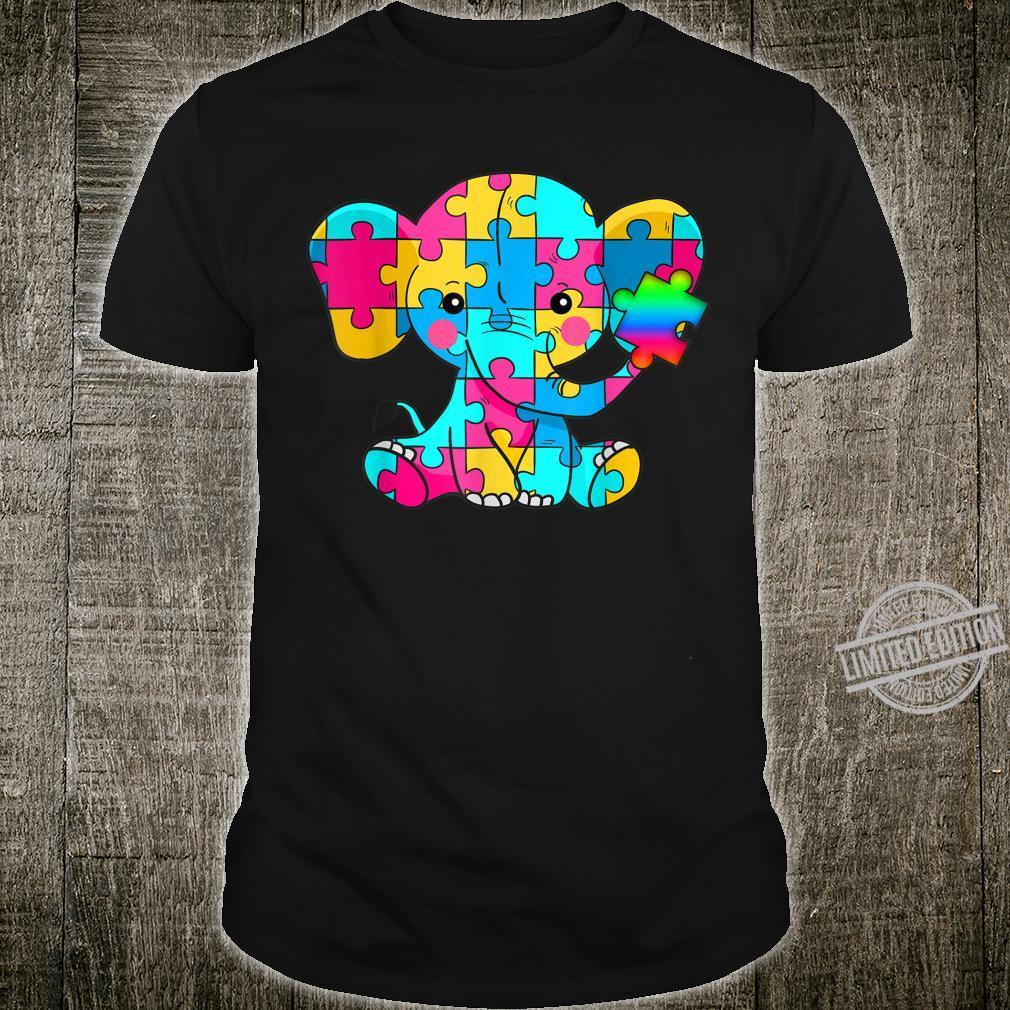 Autism Awareness Cute Elephant Color Puzzles Rainbow Shirt