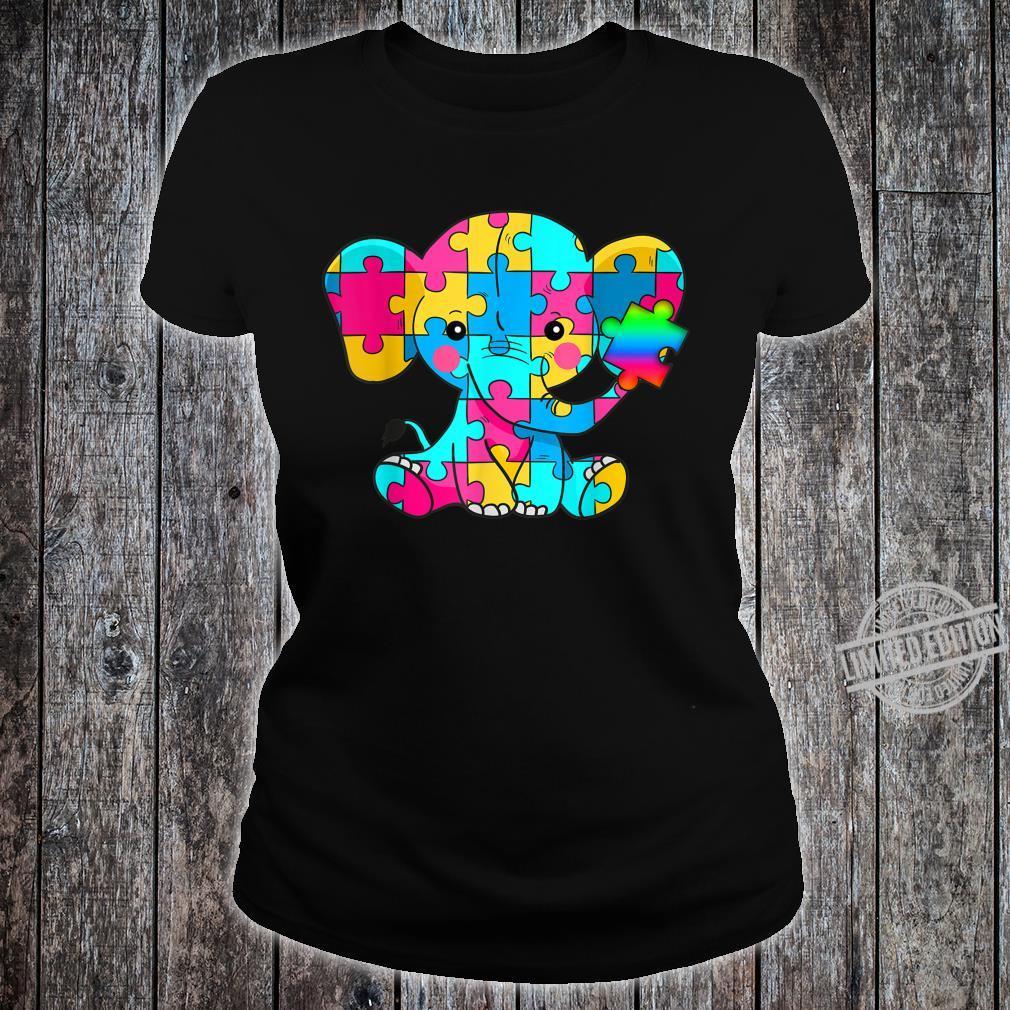 Autism Awareness Cute Elephant Color Puzzles Rainbow Shirt ladies tee