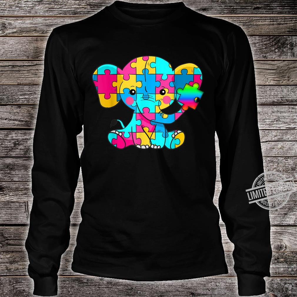 Autism Awareness Cute Elephant Color Puzzles Rainbow Shirt long sleeved