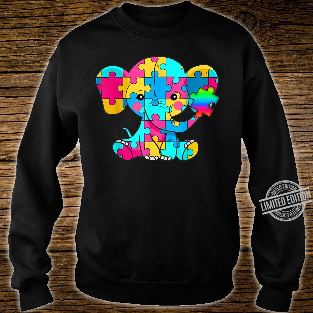 Autism Awareness Cute Elephant Color Puzzles Rainbow Shirt sweater