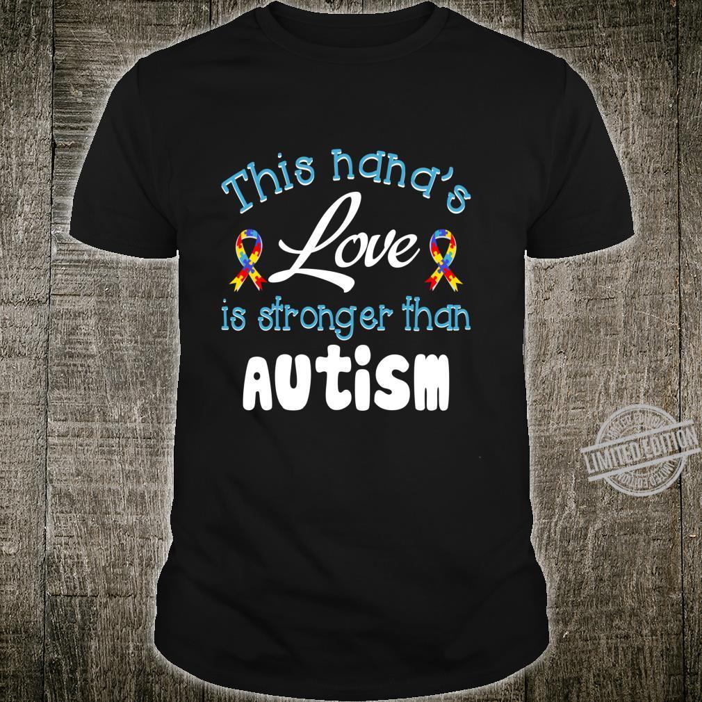 Autism Nana Grandma Love Autism Aware Month Puzzle Ribbon Shirt