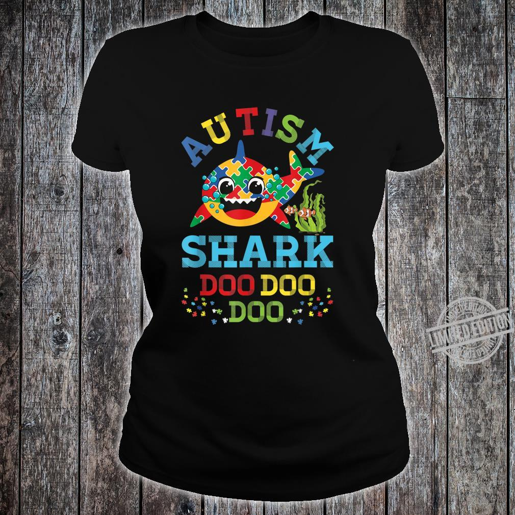 Autism Shark Puzzle Awareness Day Cute Doo Doo Boy Girl Shirt ladies tee