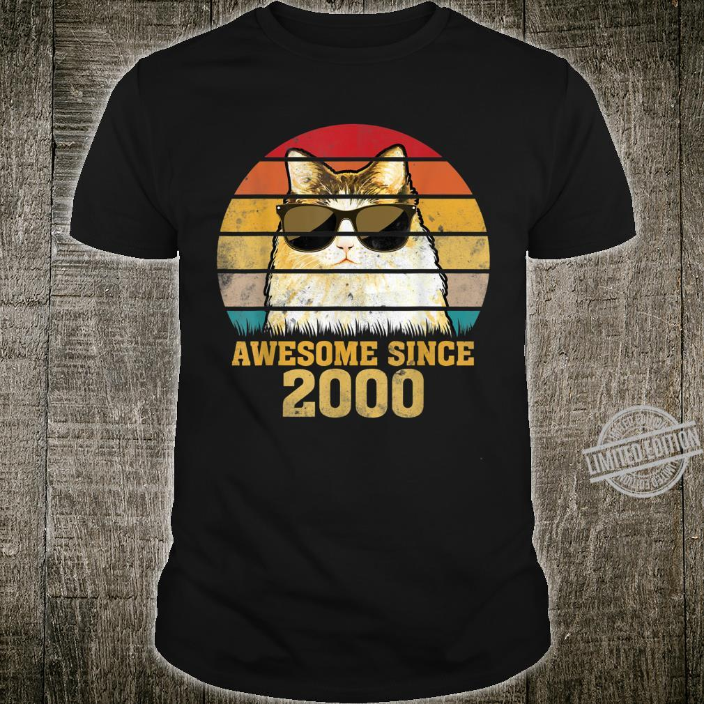 Awesome Since 2000 20th Birthday Retro Cat Shirt