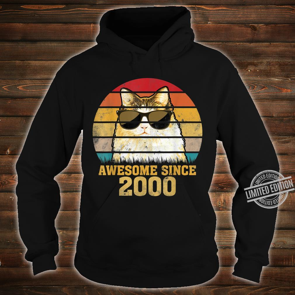Awesome Since 2000 20th Birthday Retro Cat Shirt hoodie