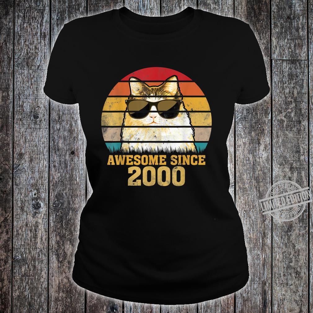 Awesome Since 2000 20th Birthday Retro Cat Shirt ladies tee