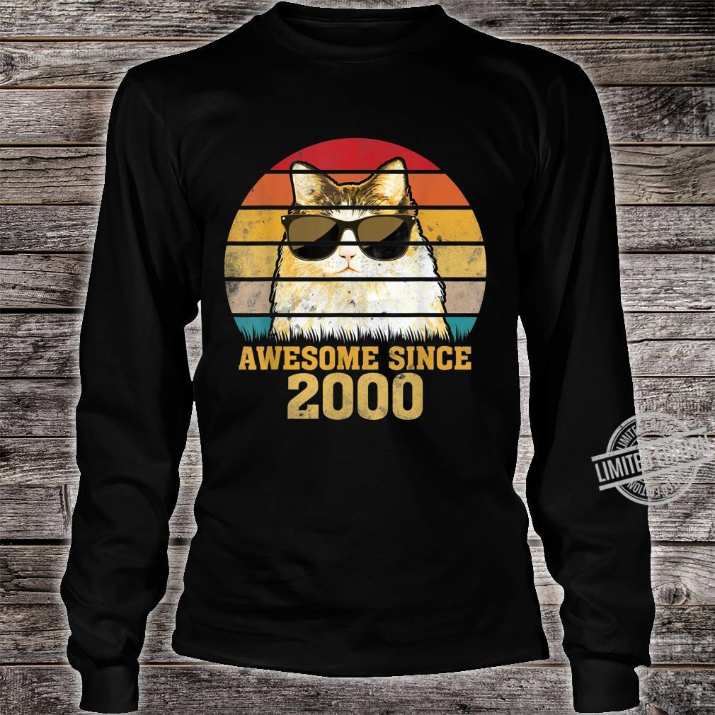 Awesome Since 2000 20th Birthday Retro Cat Shirt long sleeved