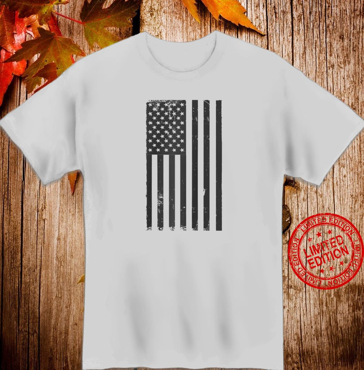 Black And White American Flag 4th Of July Shirt