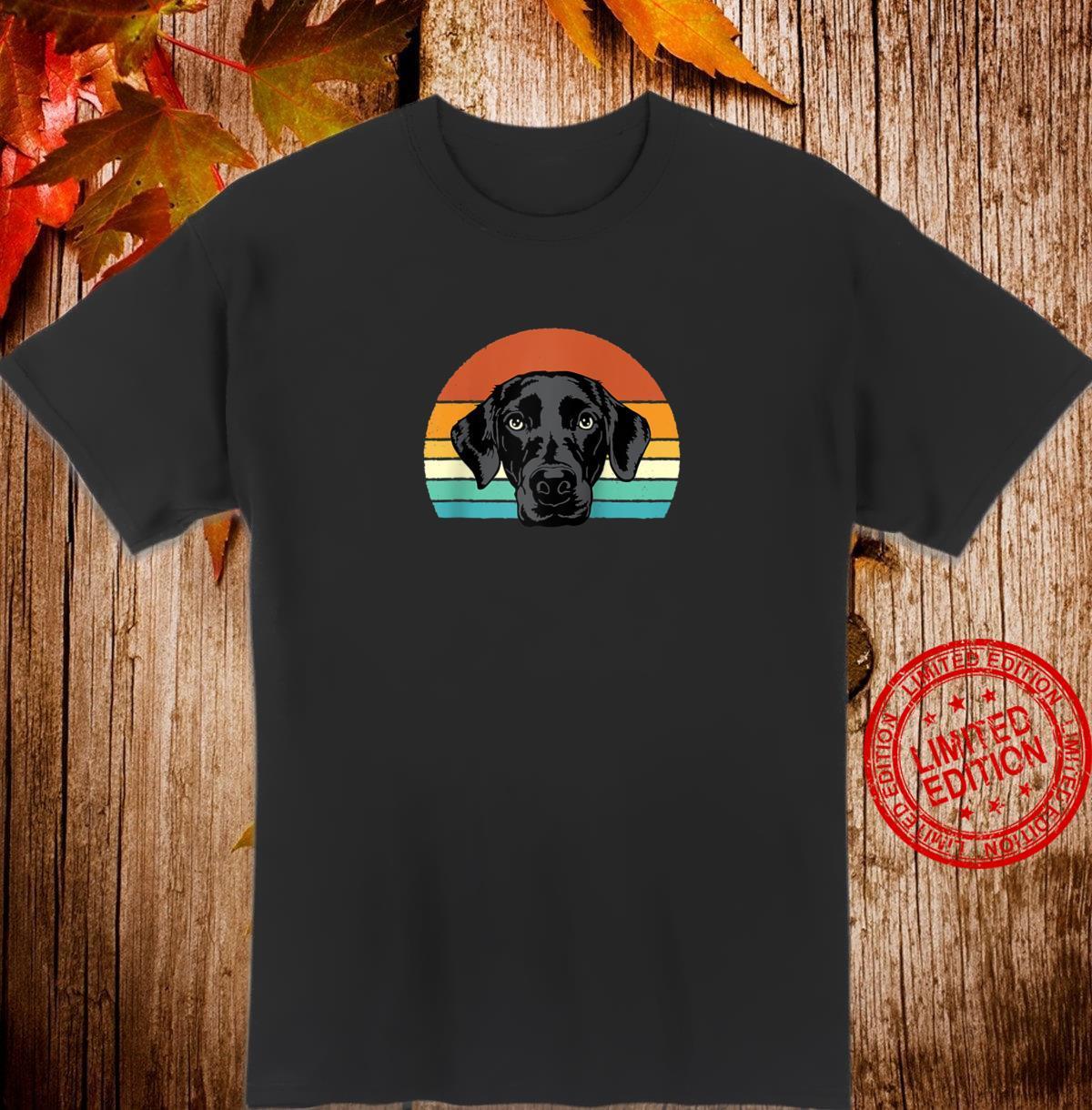 Black Lab Vintage Sunset Dogs Retro 70s Style Shirt