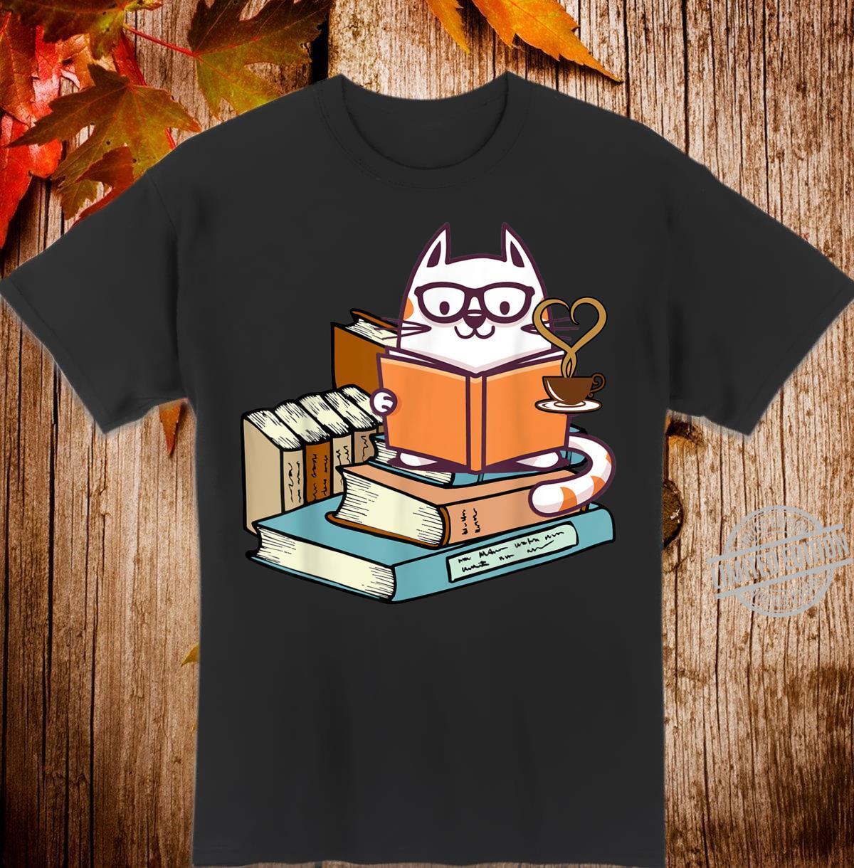 Cat Books and Tea Shirt