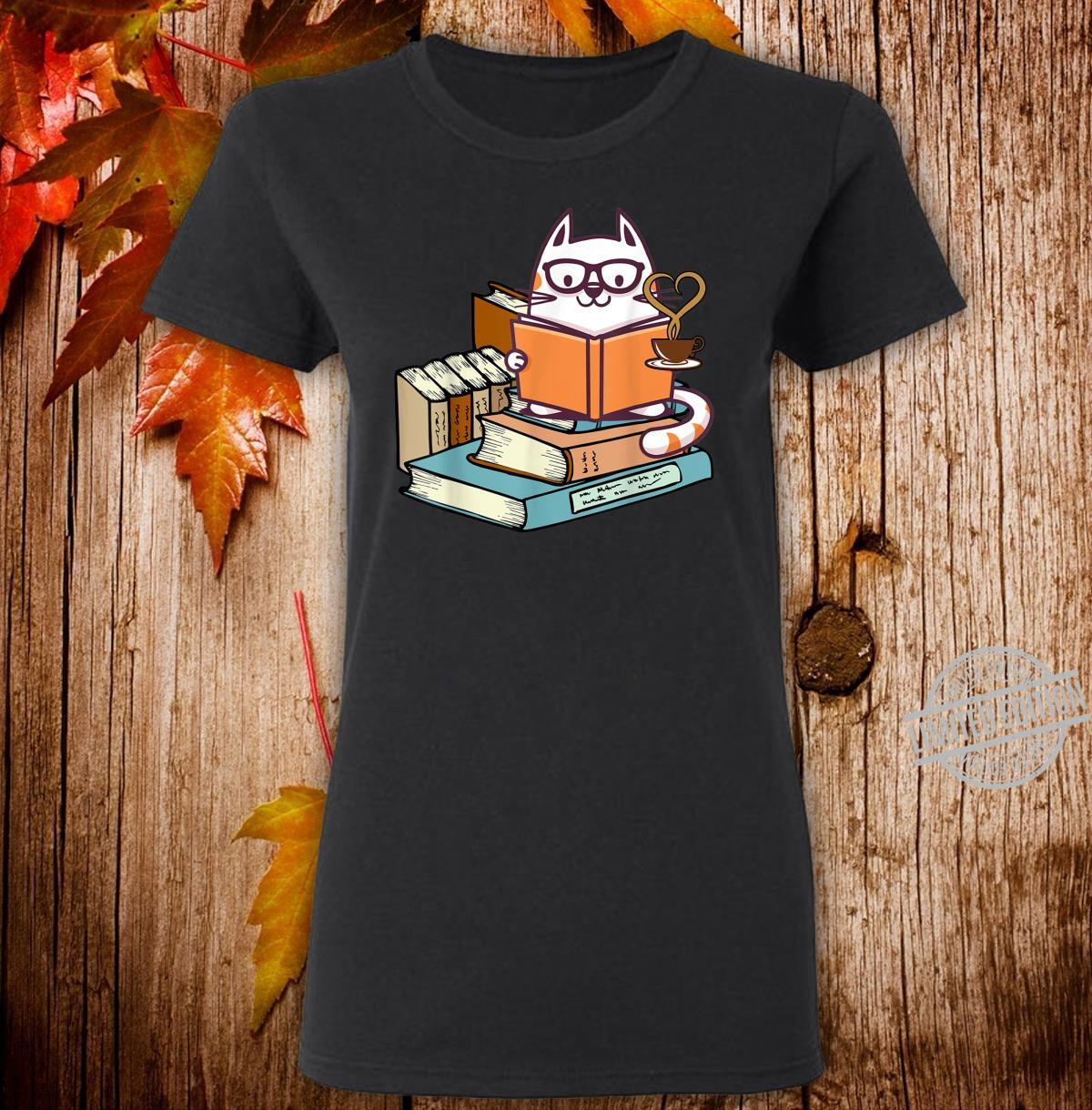 Cat Books and Tea Shirt ladies tee