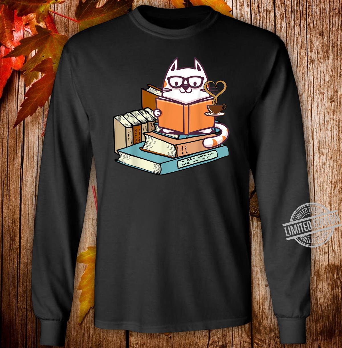 Cat Books and Tea Shirt long sleeved