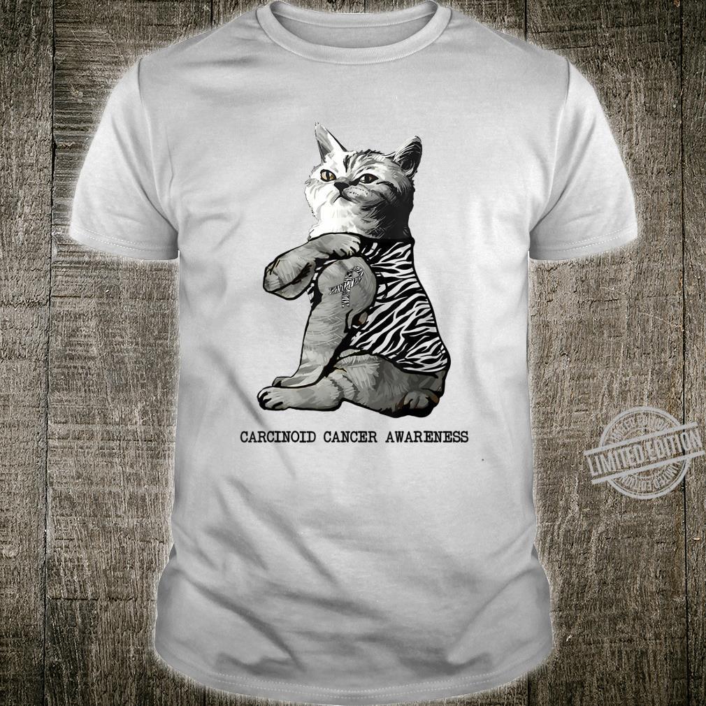 Cat Showing Zebra Ribbon Tattoo Carcinoid Cancer Awareness Shirt
