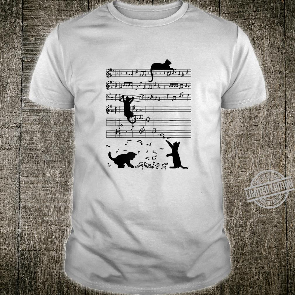 Cats Playing Music Note Clef and Music Sheet Shirt