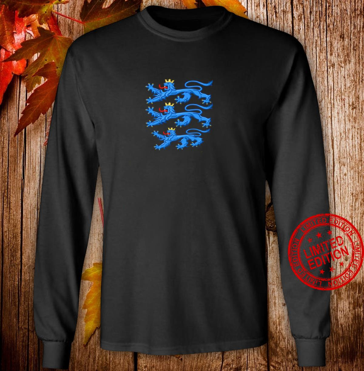 Coat Of Arms Of Denmark Shirt Rigsvaben Three Crowned Lions Shirt long sleeved