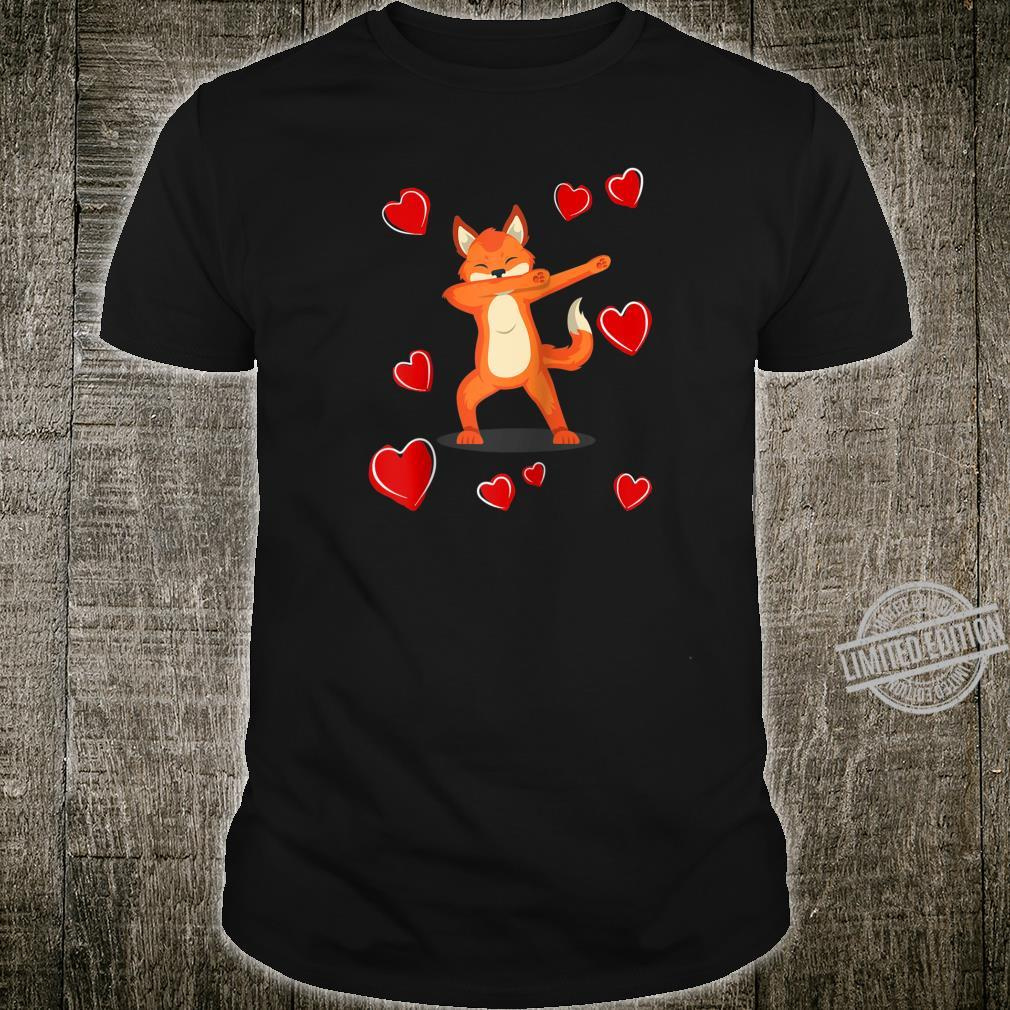 Dabbing Fox Heart Valentines Day Love Dab Dance Shirt