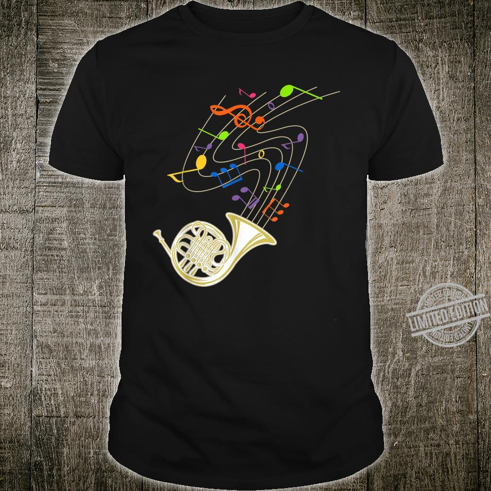 Funny French Horn Rainbow Music Notes Shirt