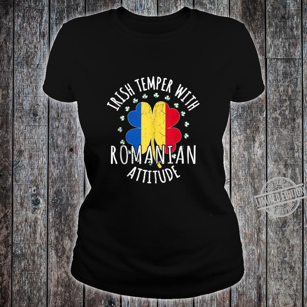 Irish Temper Romanian Attitude St Patrick's Day Romanian Shirt ladies tee
