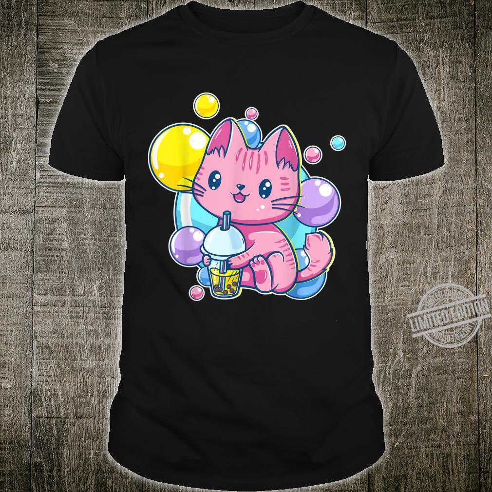 Kawaii Pink Pastel Chibi Kitten Cat Drinking Bubble Tea Shirt