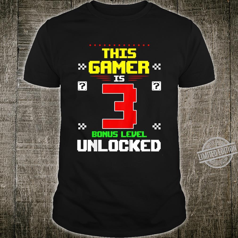 Kids This Gamer Is 3 Gamer Birthday 3 Level Unlocked Shirt