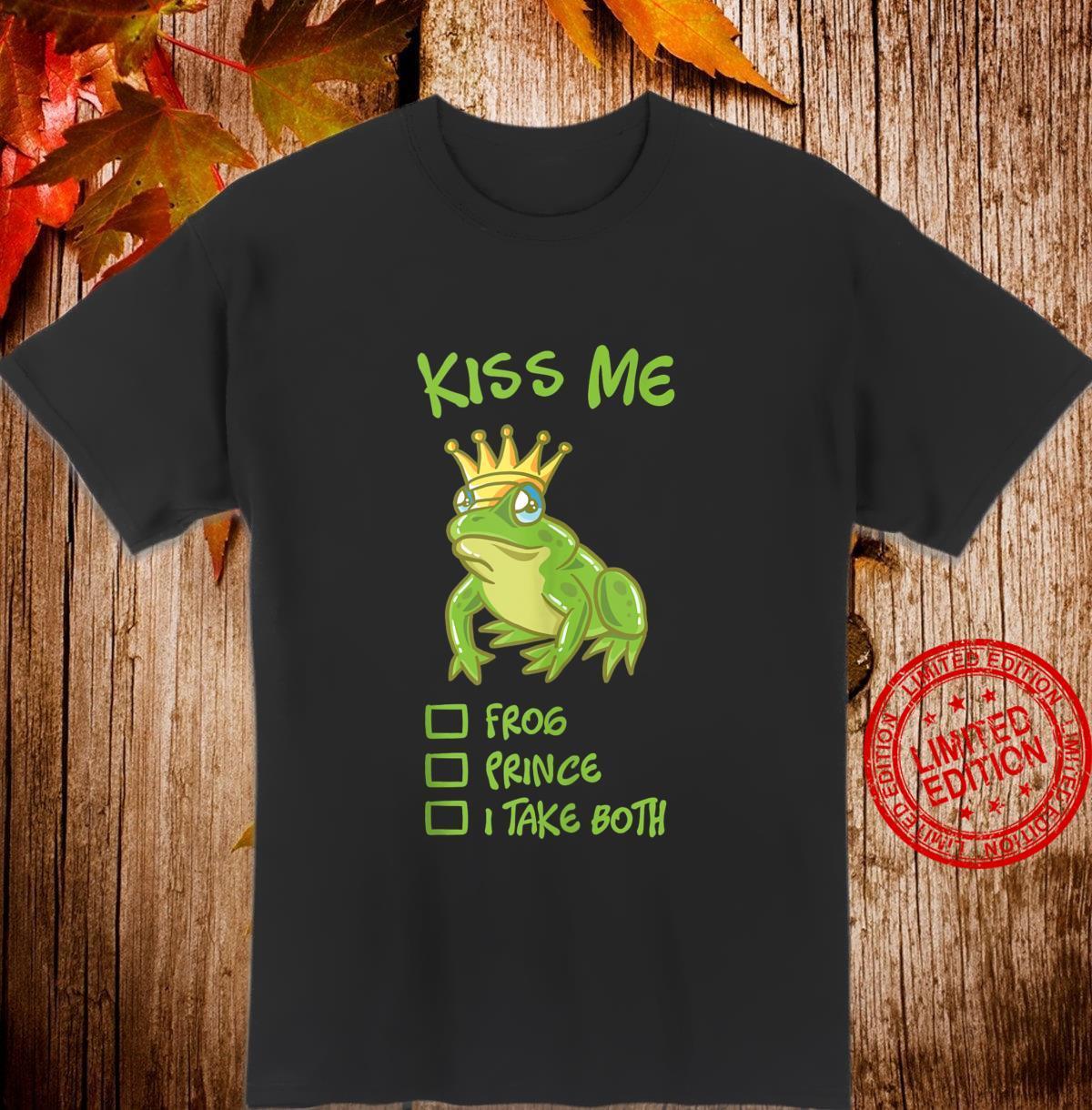 Kiss Me Frog With Crown Fairytale Prince Princess Couple Shirt