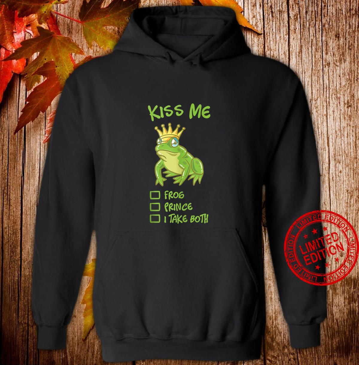 Kiss Me Frog With Crown Fairytale Prince Princess Couple Shirt hoodie