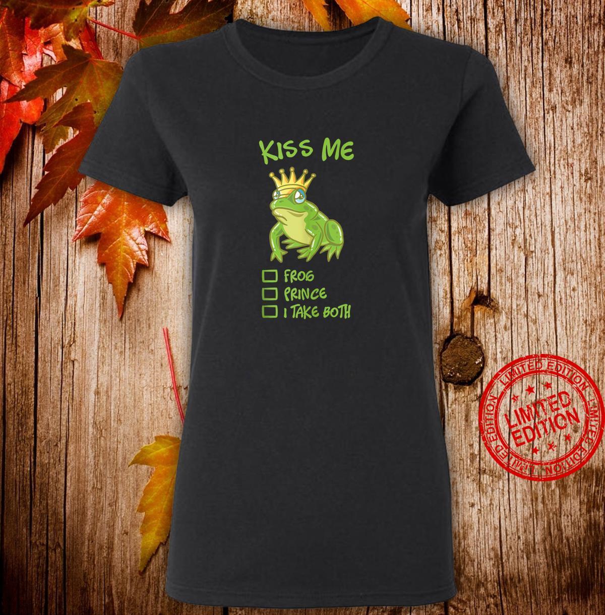 Kiss Me Frog With Crown Fairytale Prince Princess Couple Shirt ladies tee