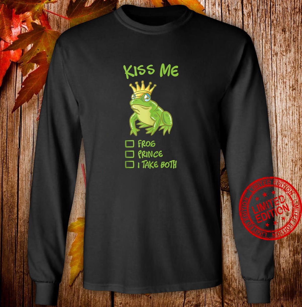 Kiss Me Frog With Crown Fairytale Prince Princess Couple Shirt long sleeved