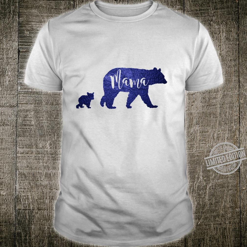 Mama Bear with 1 One Cub Mom Mother Blue Shirt