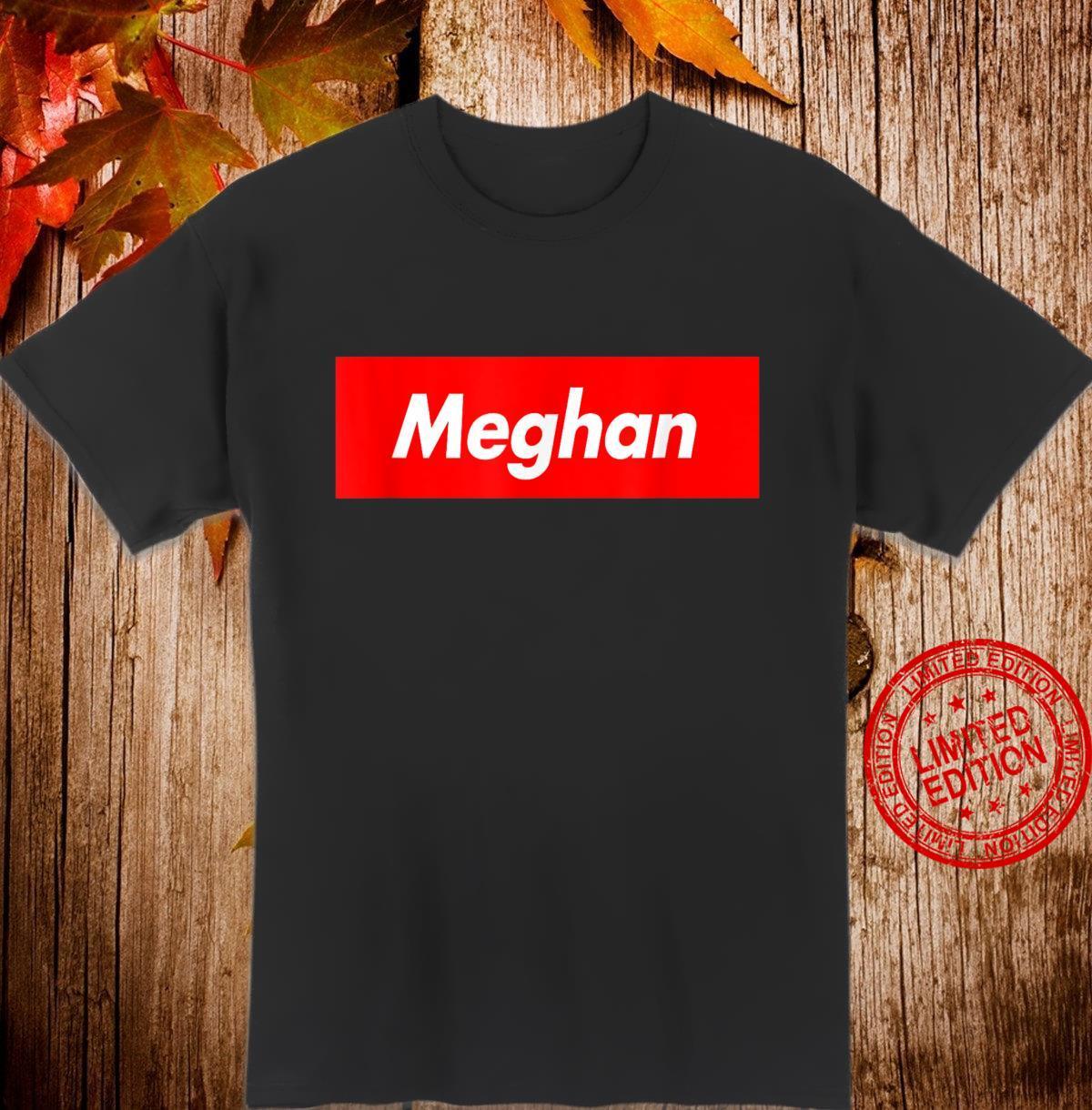 Meghan Name Red Box Logo Parody Shirt