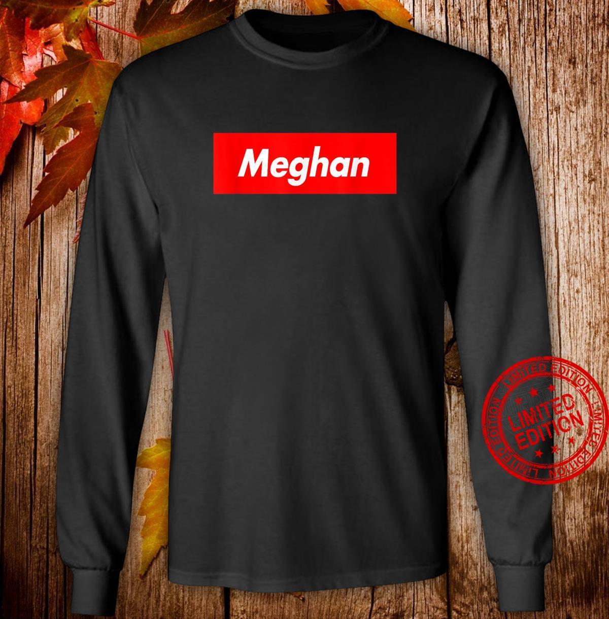 Meghan Name Red Box Logo Parody Shirt long sleeved