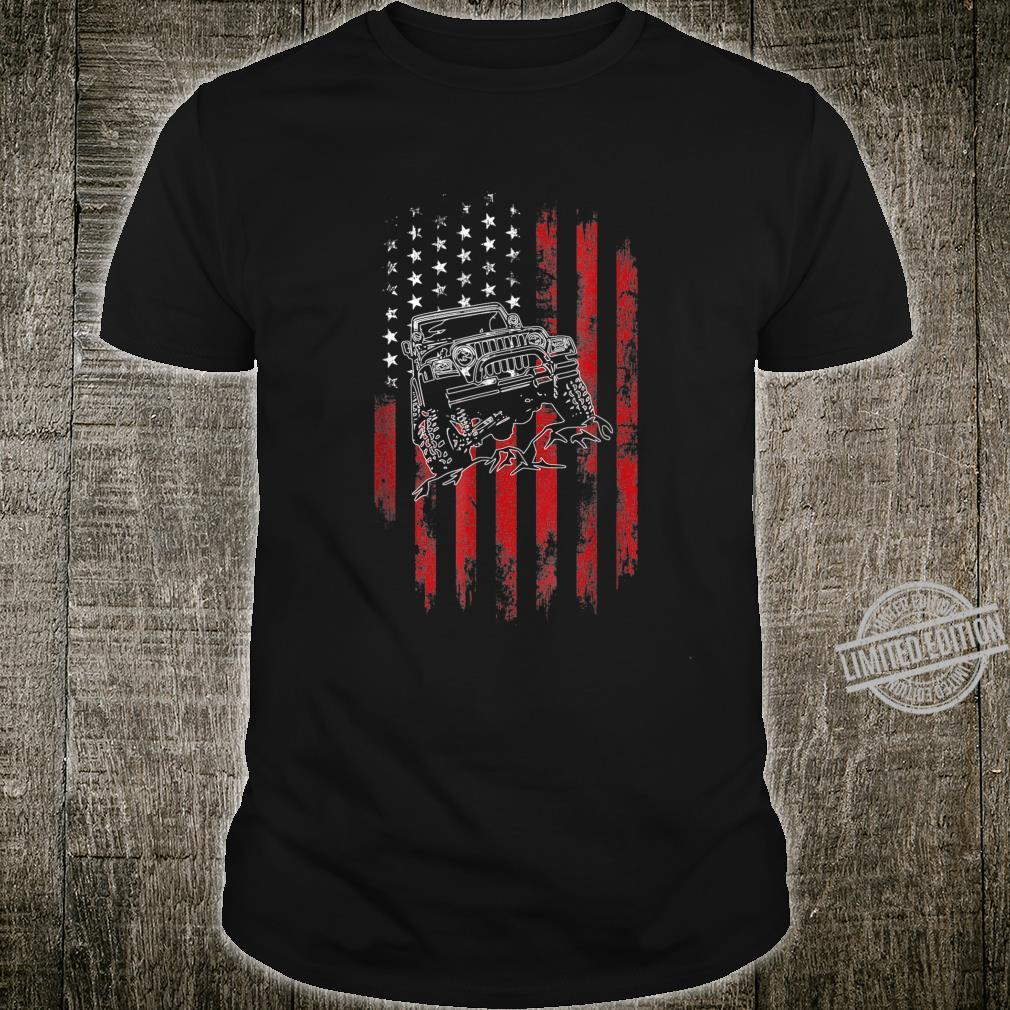 Men JeepsDistressed USA Flag JeepsOffroad United State Shirt