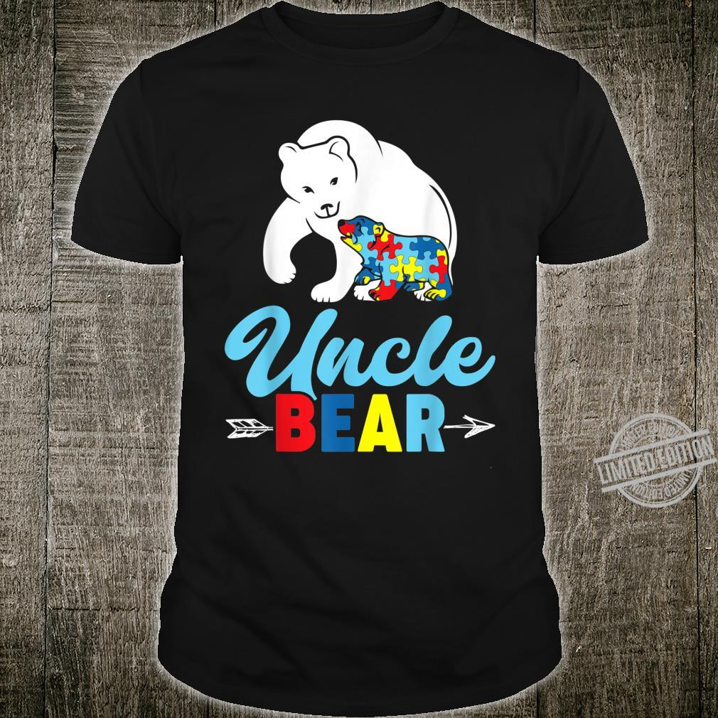 Mens Autism Awareness Uncle Bear Love & Support Shirt