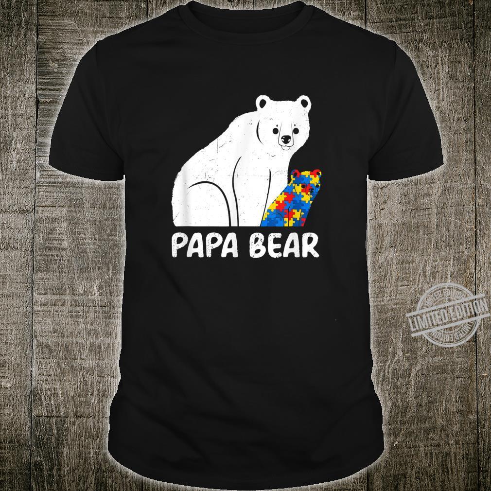 Mens Papa Bear Autism Awareness Support Mom Shirt