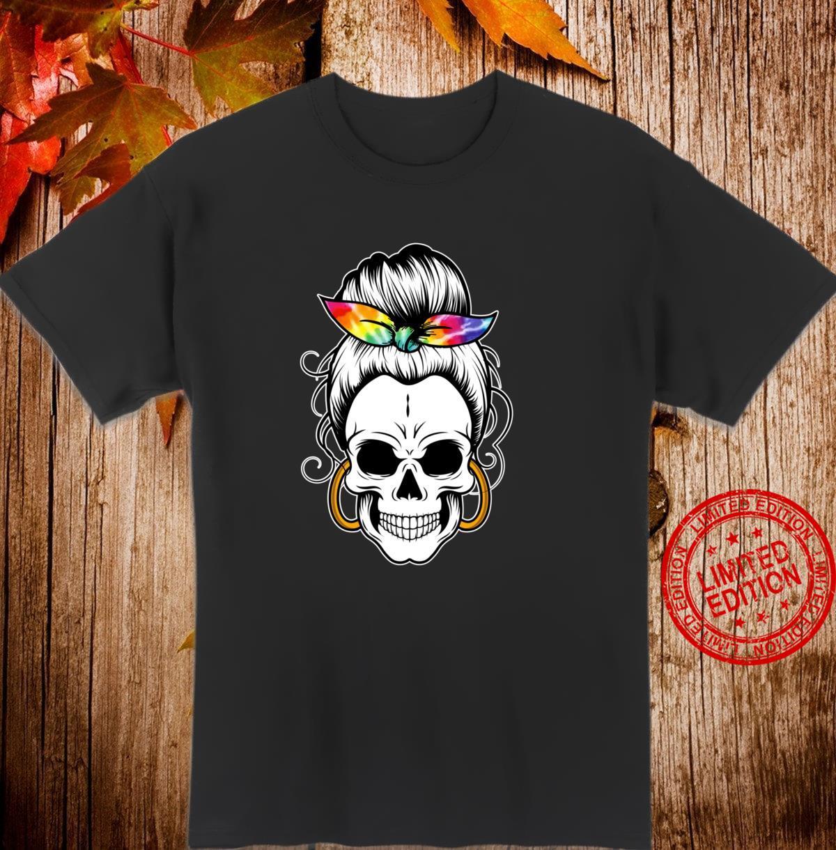 Messy Bun Skull Frauen Krawattenfarbstoff Hippie Halloween Langarmshirt Shirt
