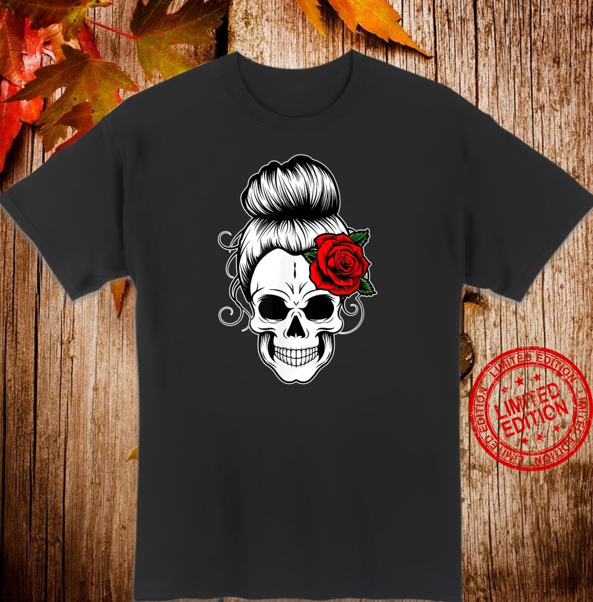 Messy Bun Skull Shirt Frauen Retro Halloween Shirt Shirt