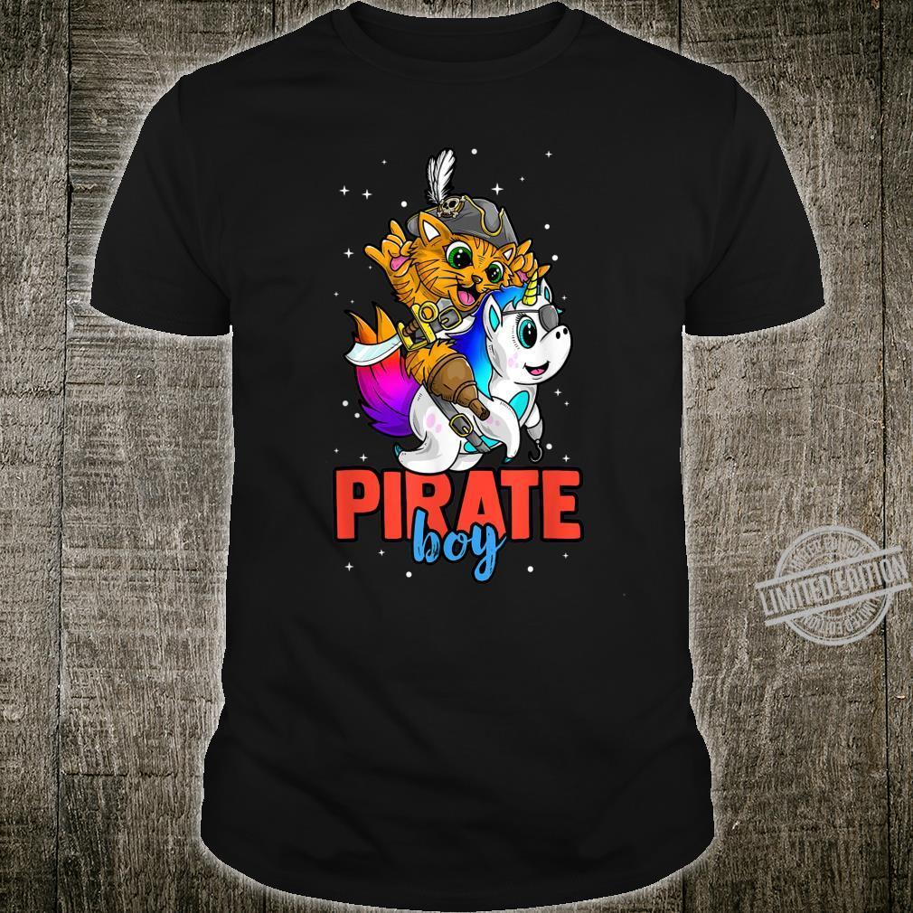 Pirate Boy Halloween Costume Jolly Roger Kitty Unicorn Shirt