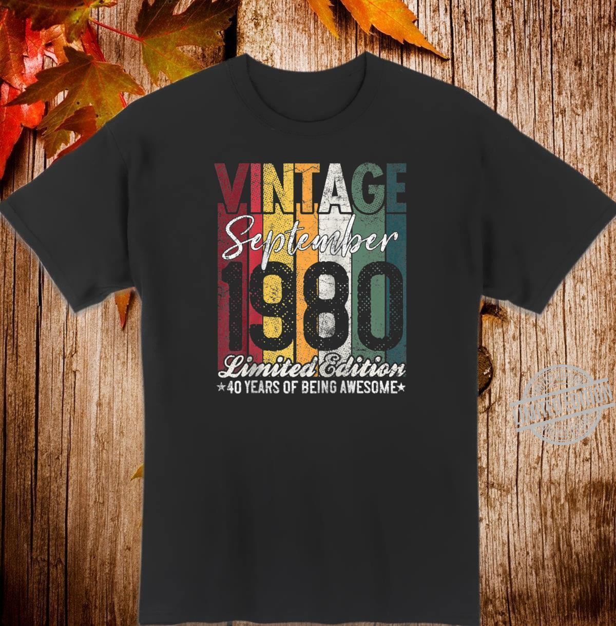 September 1980 40 Years of Being Awesome 40th Birthday Shirt