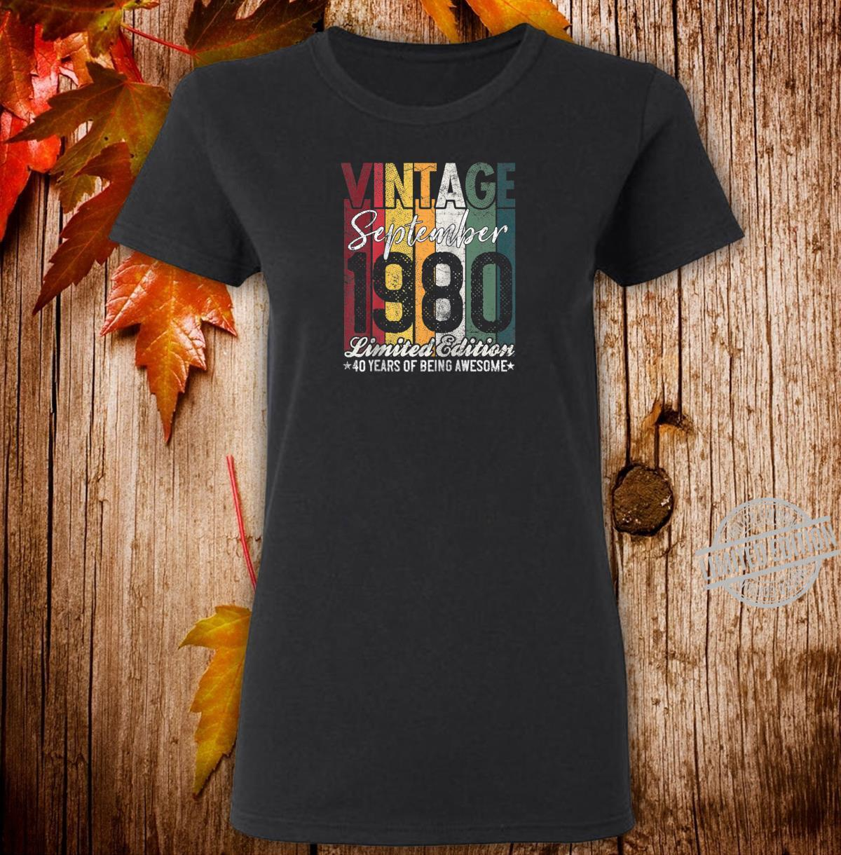 September 1980 40 Years of Being Awesome 40th Birthday Shirt ladies tee