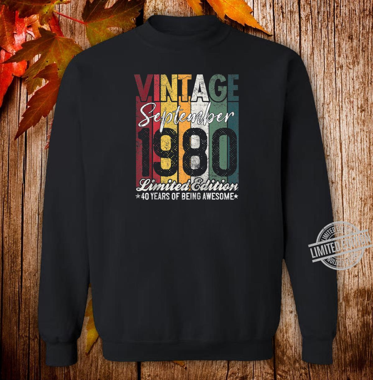 September 1980 40 Years of Being Awesome 40th Birthday Shirt sweater