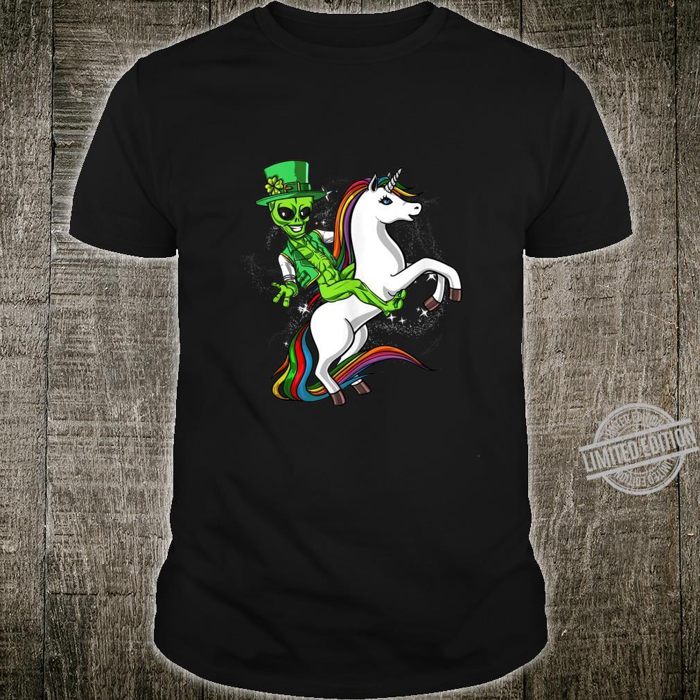 Space Alien Leprechaun Riding Unicorn St Patricks Irish Shirt