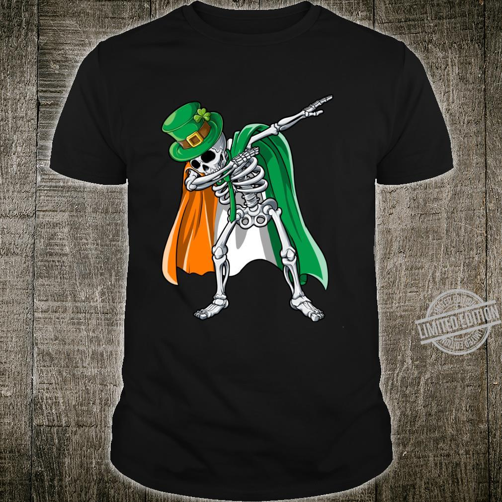 St Patricks Day Dabbing Skeleton Boys Irish Flag Shirt