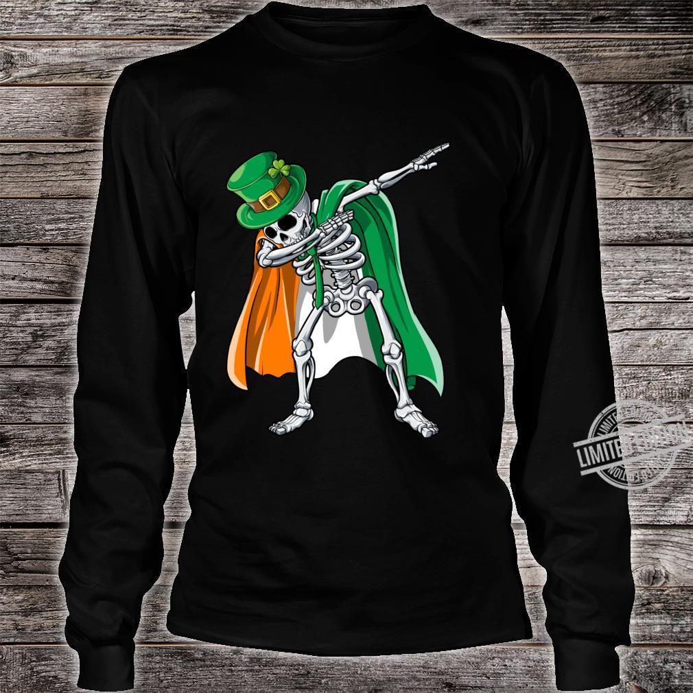 St Patricks Day Dabbing Skeleton Boys Irish Flag Shirt long sleeved