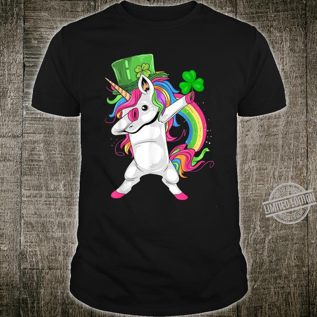St Patricks Day Dabbing Unicorn Lepricorn Shirt Irish Girls Shirt