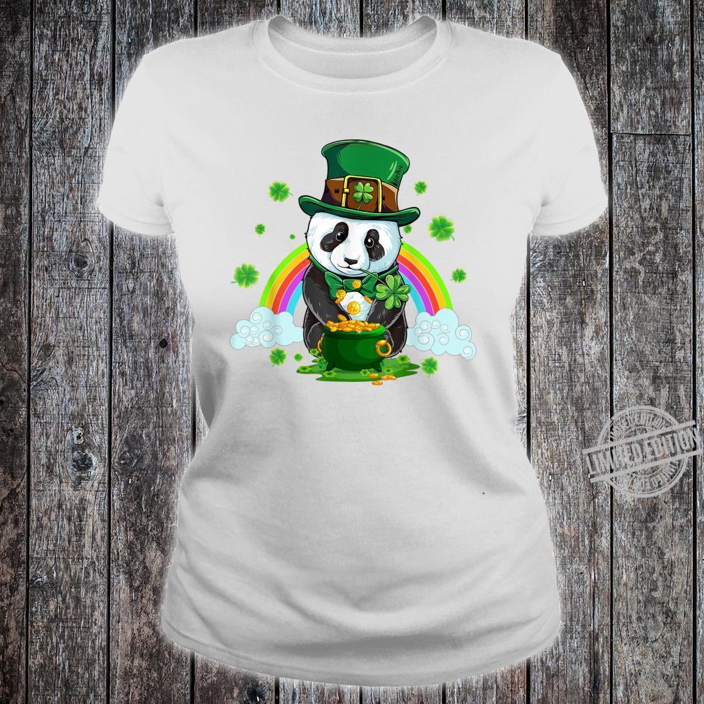 St Patricks Day Panda Leprechaun Irish Shamrock Shirt ladies tee