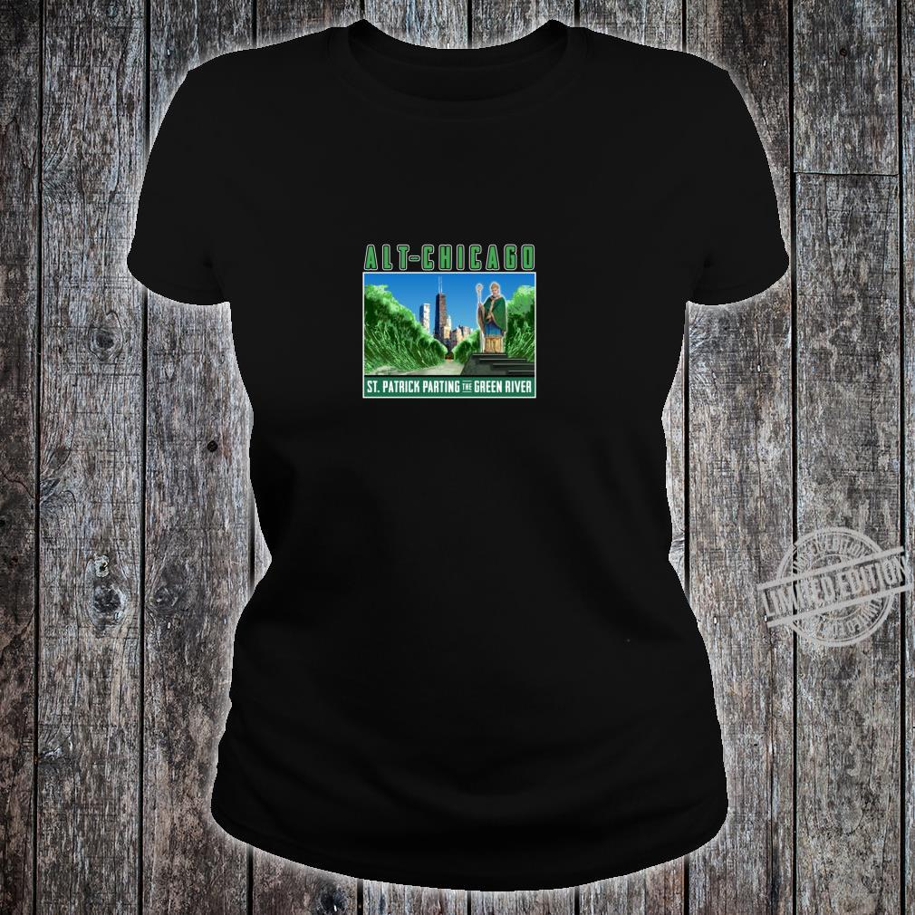 St. Patrick's Day Passover Green Chicago River Fun Crossing Shirt ladies tee