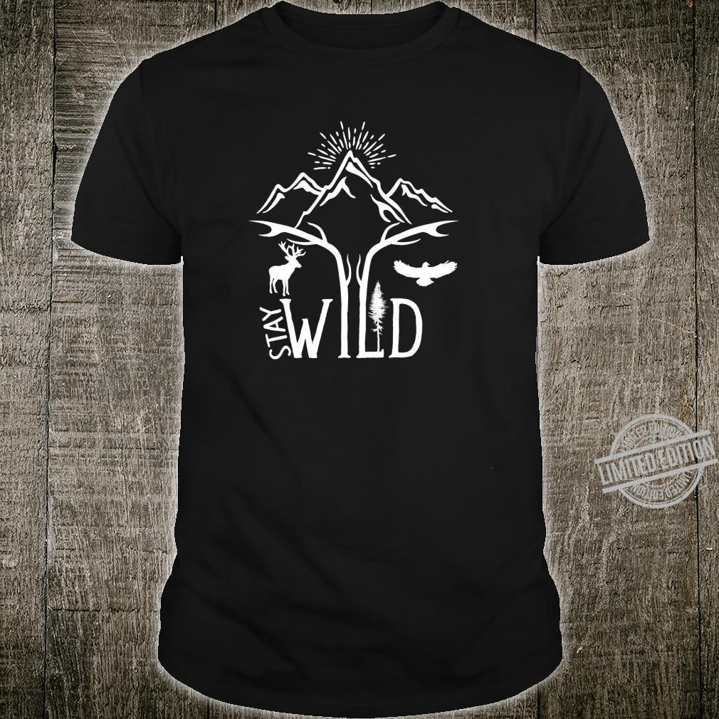 Stay Wild Wanderer Wildtiere Berge Outdoor Trail Shirt